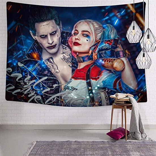 KANWODE8 Tapestry Art Wall Hanging Joker and Harl-ey-Quinn Tapestry Decorations Bedroom Living Room Dorm