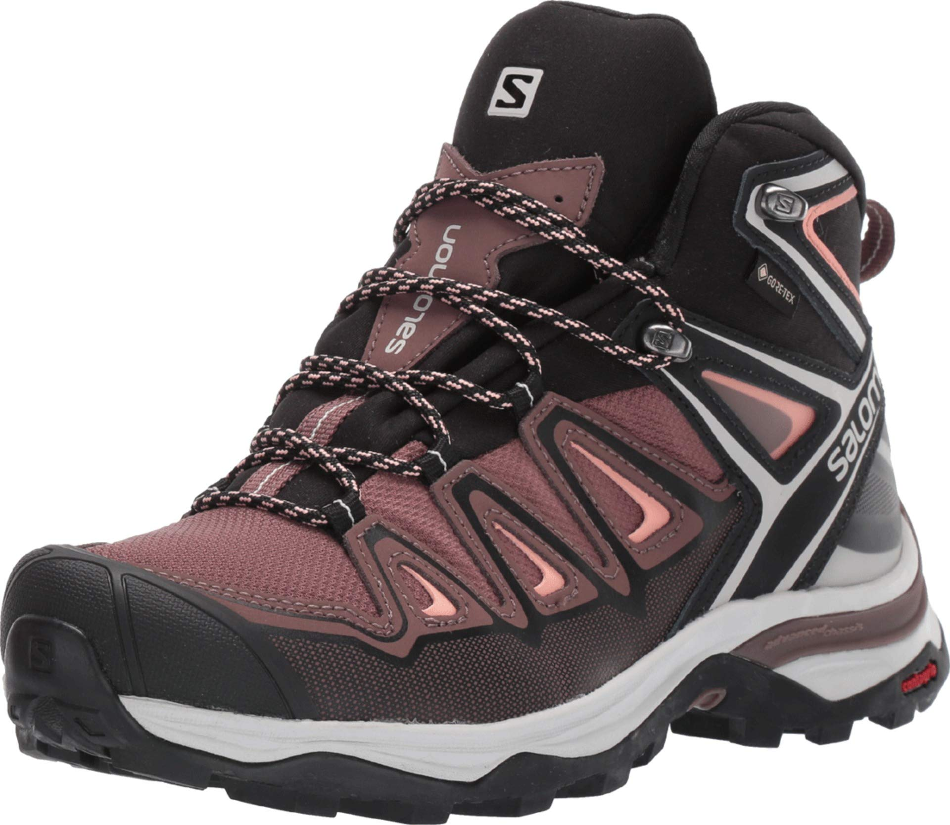 Salomon Women's X Ultra 3 Mid GTX Hiking Boots, Peppercorn/Black/Coral Almond, 9 by SALOMON