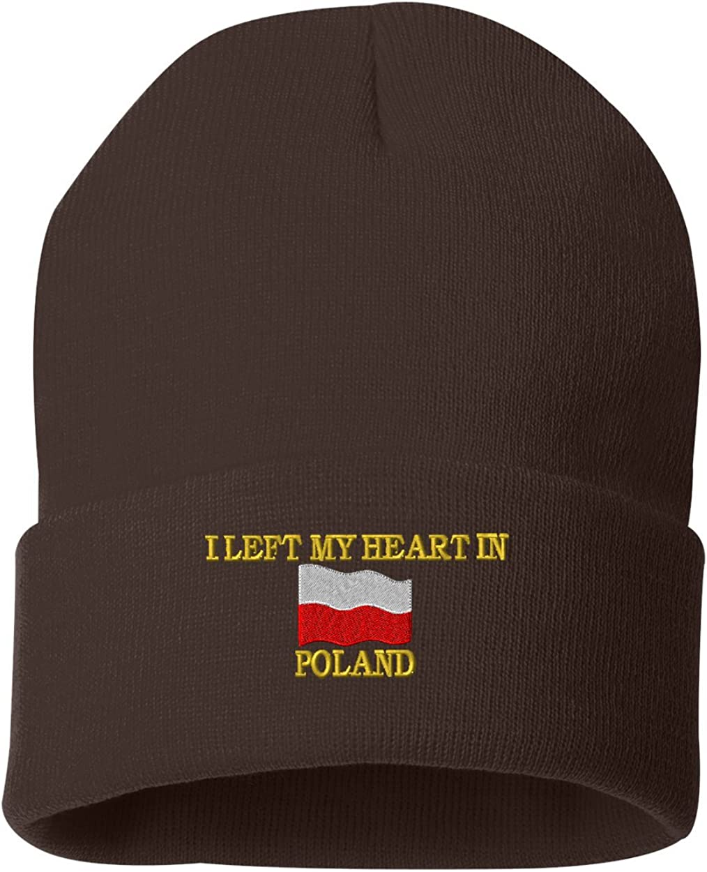 I LEFT MY HEART IN POLAND Custom Personalized Embroidery Embroidered Beanie