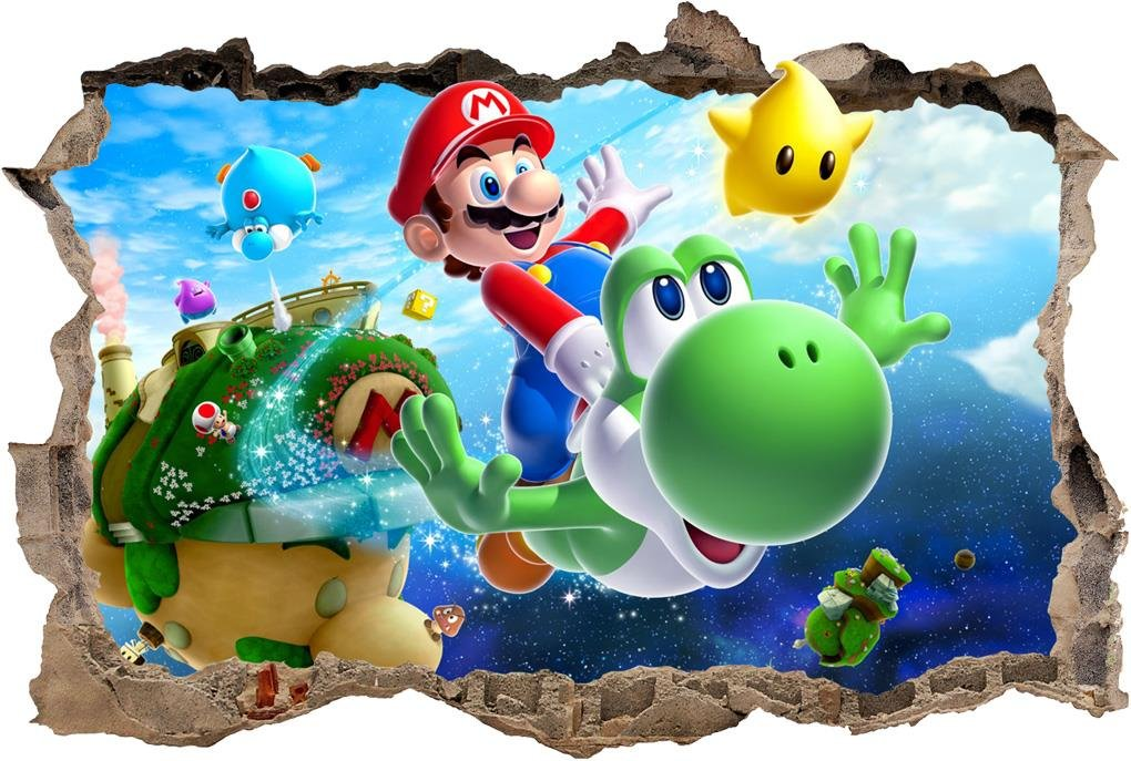 Super Mario Bros Galaxy Smashed Wall Decal Removable Wall Sticker Yoshi H193, Large