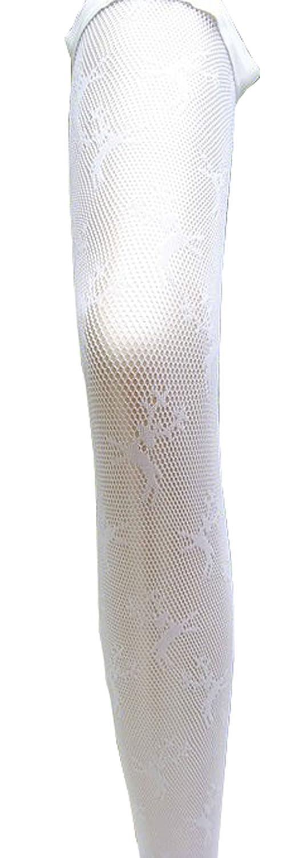 Halterlose Netzstrümpfe mit Hirschdruck Trachtenstrümpfe weiß