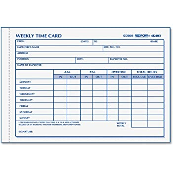 rediform time card pad weekly manila 425 x 6 100 cards - Weekly Time Card