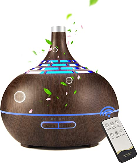 Essential Oil Diffuser 400ml Aroma Diffuser Humidifier with Remote Control, Anion Air Diffuser with 7 Colorful LED, Quiet Ultrasonic Aromatherapy Air