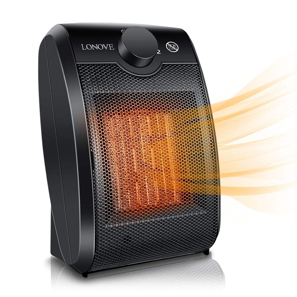 Space Heater Electric Ceramic Heater - 1500W Portable Space Heaters for Home Indoor Use Office Bedroom Desk Garage,Small Personal Room Heater with Adjustable Thermostat Tip Over,Over Heat Auto Off
