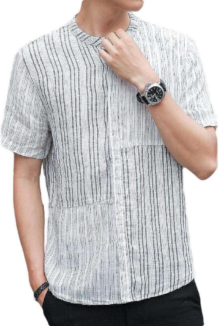 Alion Men Cotton Linen Short Sleeve Stripe Button Down Shirt