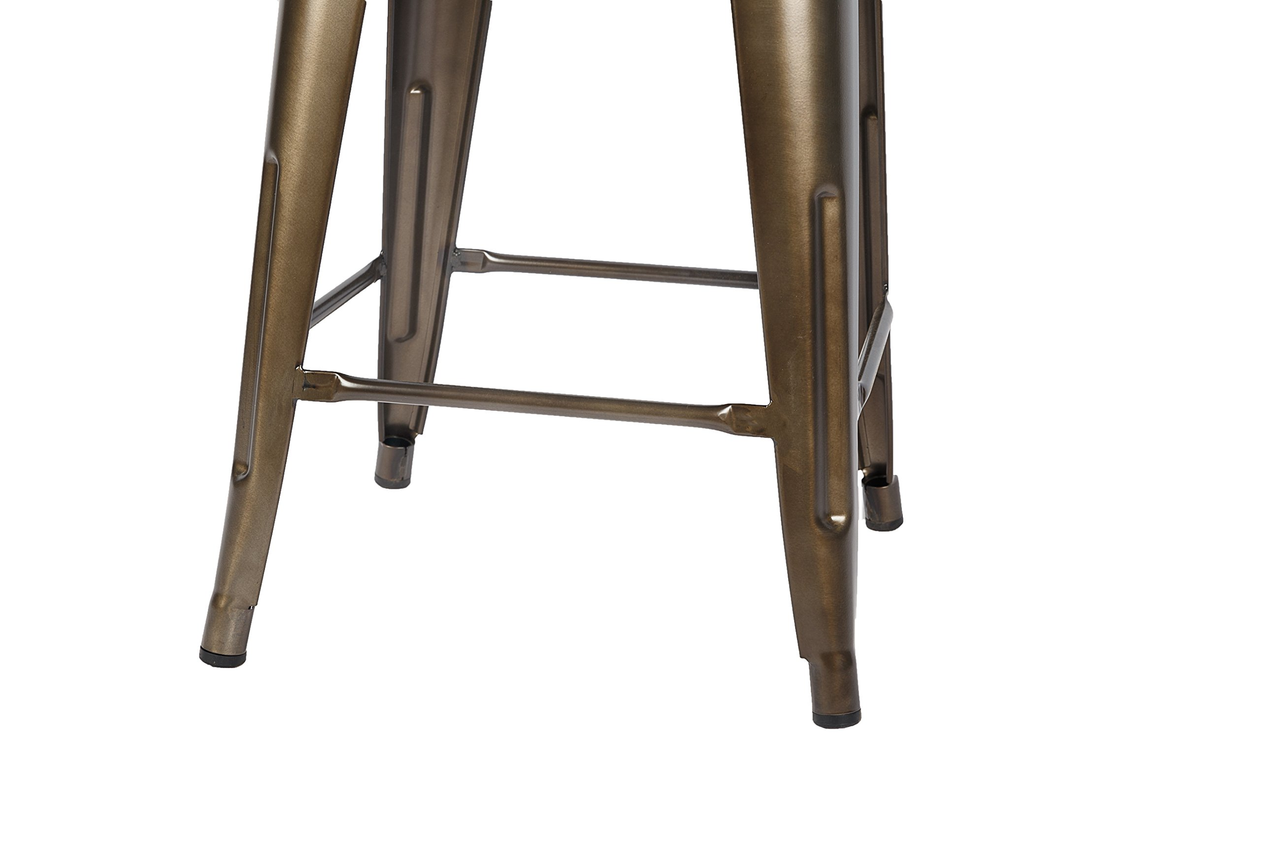 LCH 24 Inch Patio Metal Industrial Bar Stools, Set of 4 Indoor/Outdoor Counter Stackable Barstool with Wood Seat, 500 LB Limit, Antique Copper by LCH (Image #8)