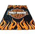Elegant Comfort Soft Plush Classic Black Harley Davidson Blanket / Throw Full Or Queen Size