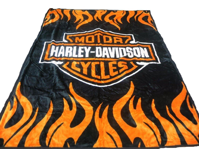 Super Soft Plush Classic Black Harley Davidson Blanket/Throw Full or Queen Size -%100 by Elegant Comfort