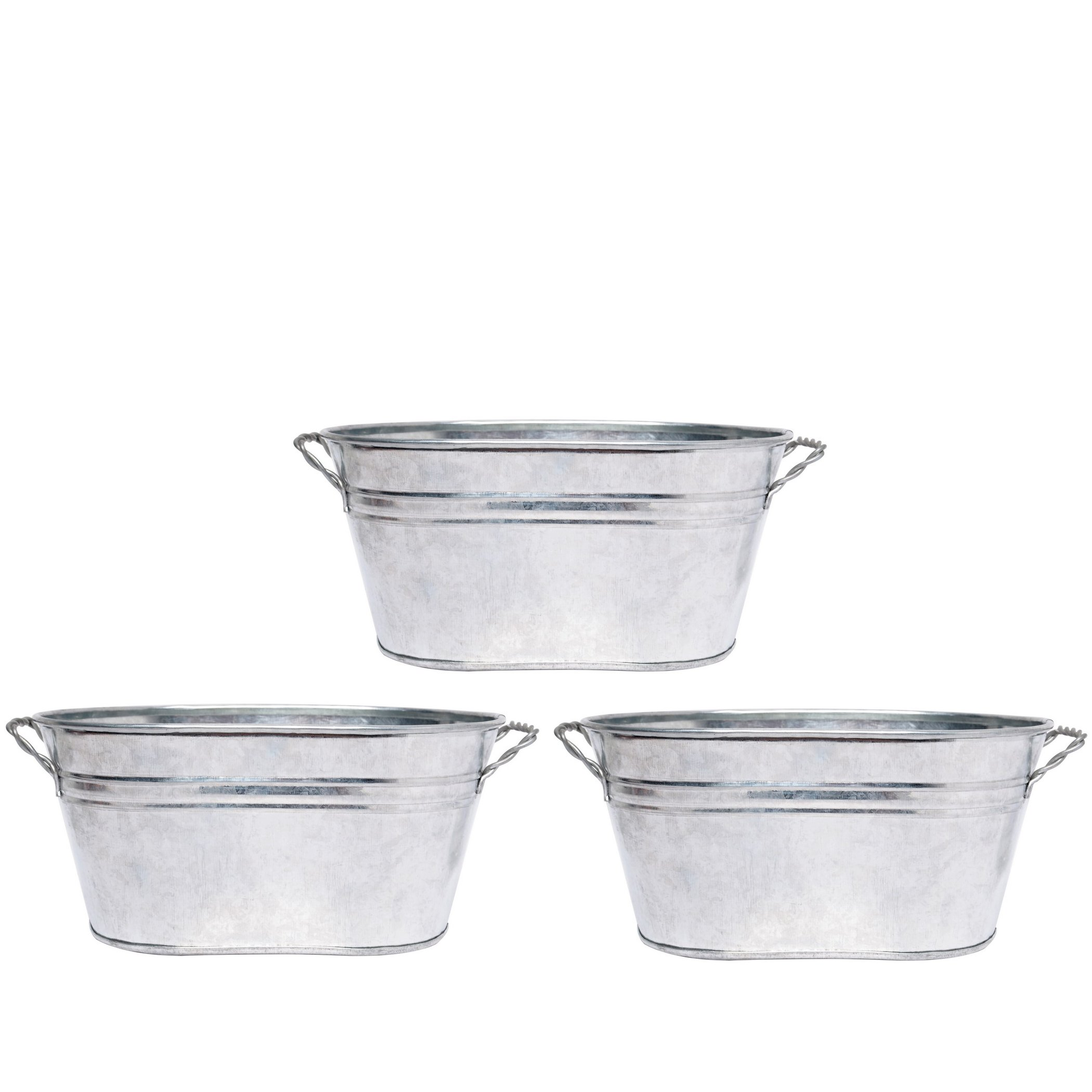 Hosley 3 Pack of Galvanized Oval Planters - 8'' Long. Ideal Gift and Use for Weddings, Special Events, Parties, Outside Planters. W9