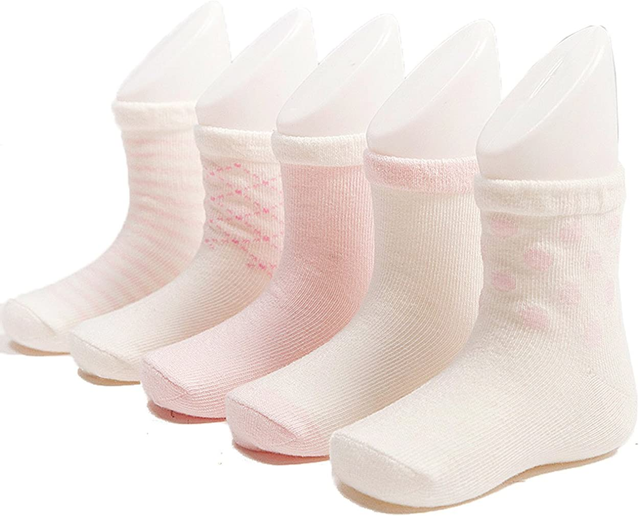 Century Star Baby Infant Toddler Boys Grils Lovely 5 Pairs Basic Comfort Seamless Socks