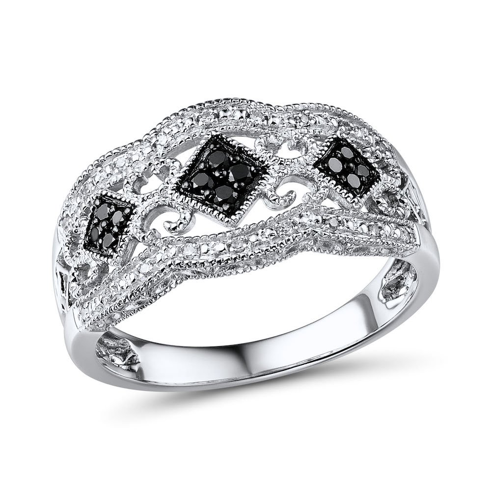 Black Diamond Wedding Anniversary Band in Rhodium Plated Sterling Silver (1/5 cttw)