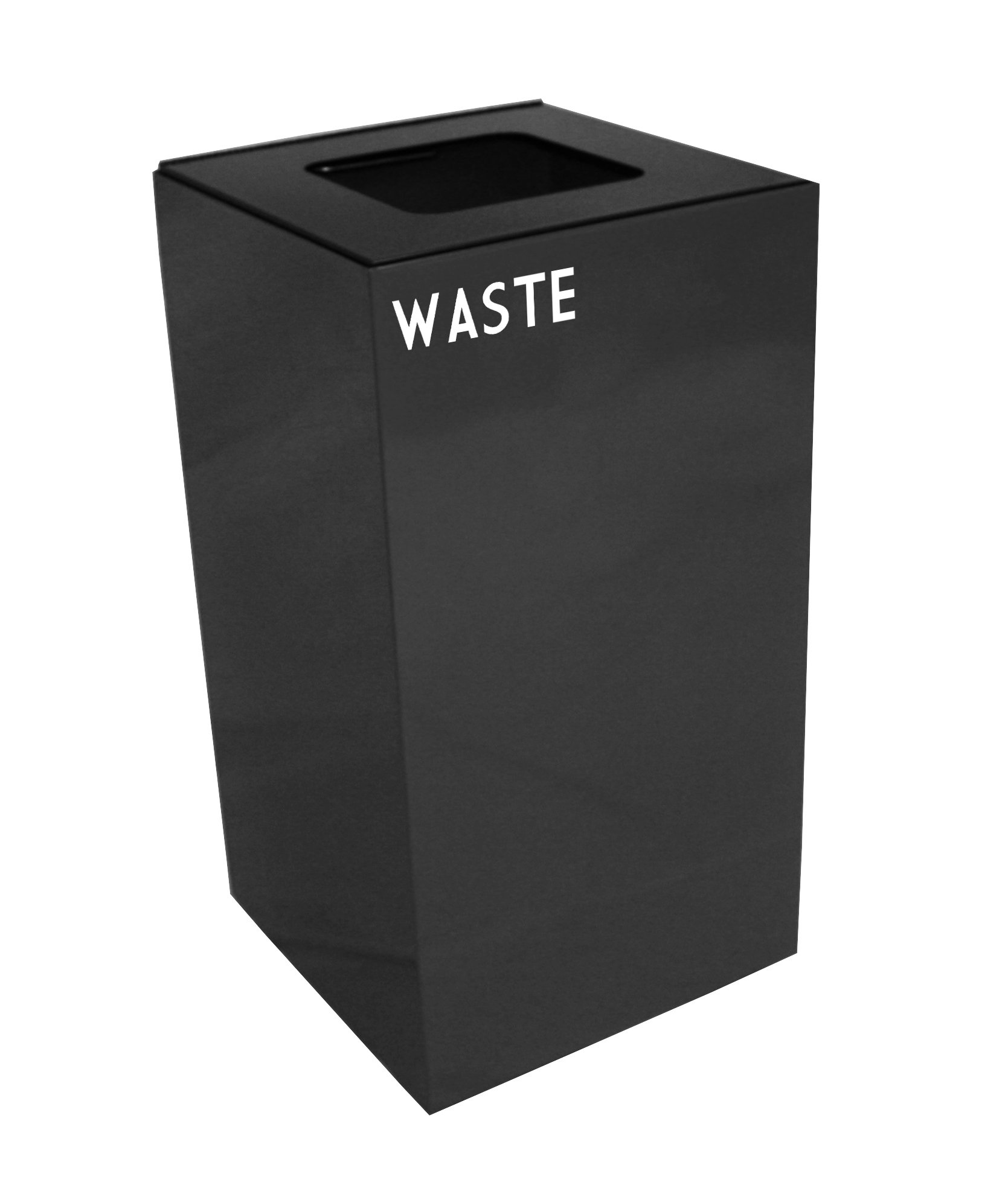 Witt Industries 28GC03-CB Steel 28-Gallon Geo Cube Recycling Container, Square Opening, Legend ''Waste'', Square, 15'' Width x 15'' Depth x 28'' Height, Charcoal