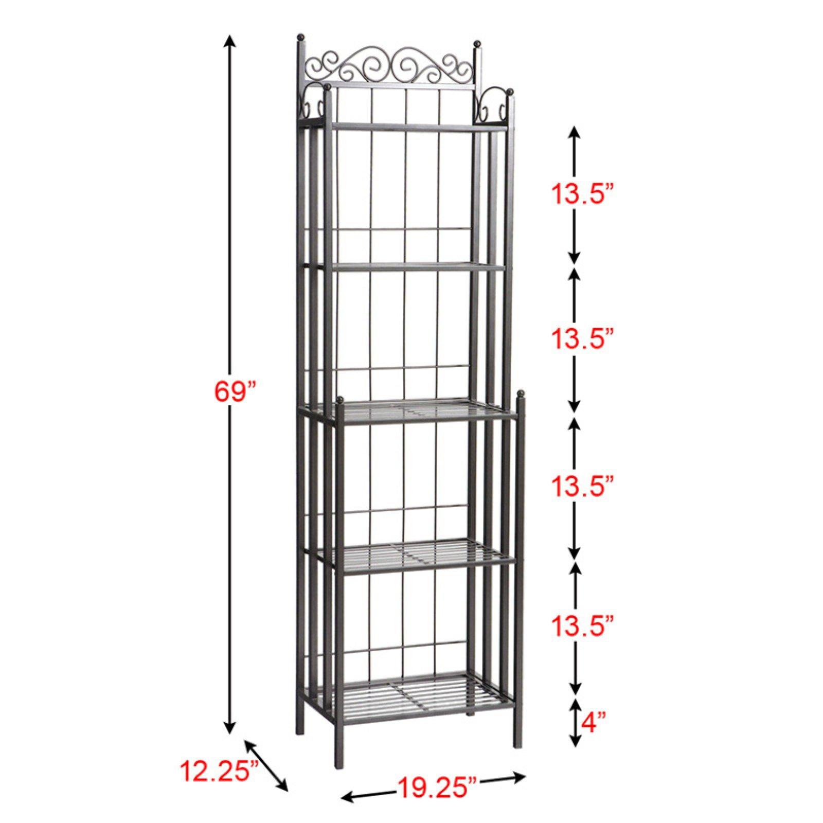 Versatile Vertical Victorian Style 5 Tier Standing Narrow Baker Rack, Planter Stand Storage Shelf for Indoor with Iron Frame, Balcony Shelving Unit, Rustproof Organizer for Corner, Plant Shelves by Nova Natural (Image #7)