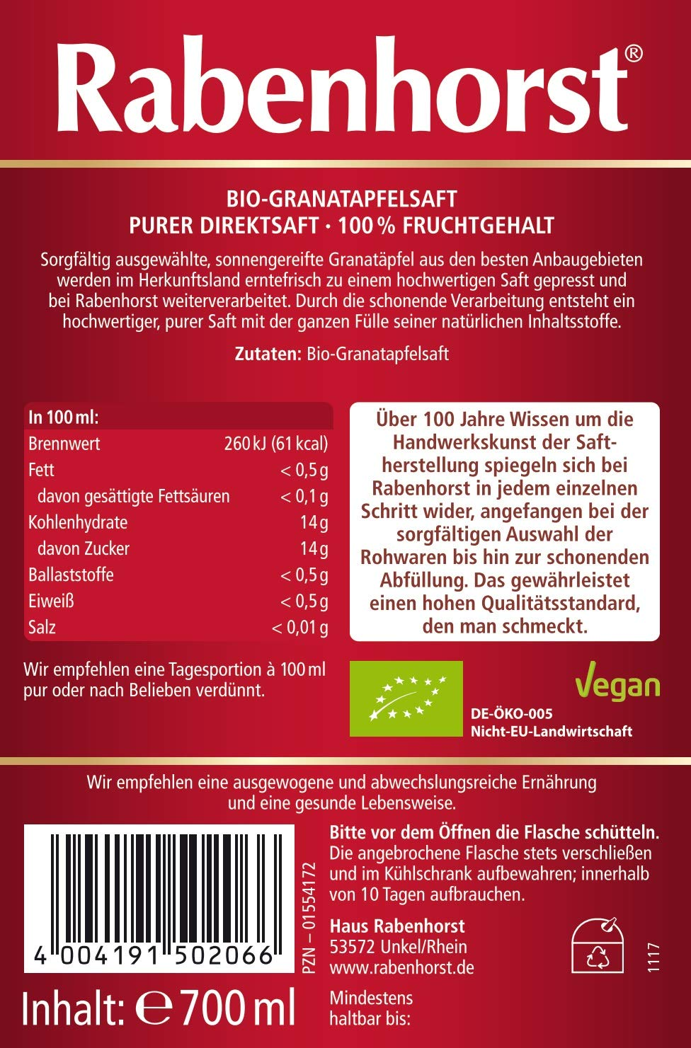 Fabelhaft Rabenhorst Bio Granatapfel Muttersaft, 3er Pack (3 x 0.7 l &ZZ_29