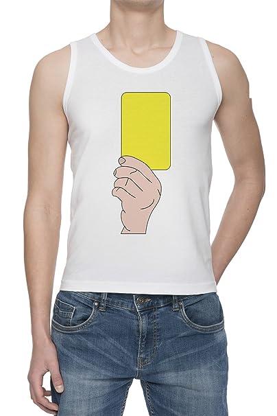 Fútbol Tarjeta Amarilla De Tirantes Camiseta Para Hombre Blanca Todos Los Tamaños | Mens White Tank