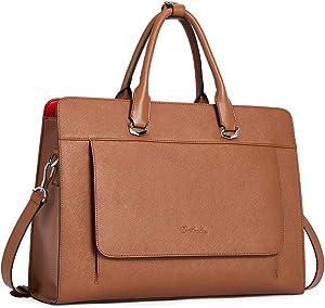 BOSTANTEN Laptop Bag for Women 15.6 inch Leather Briefcase Slim Messenger Bag Shoulder Tote Handbags Brown