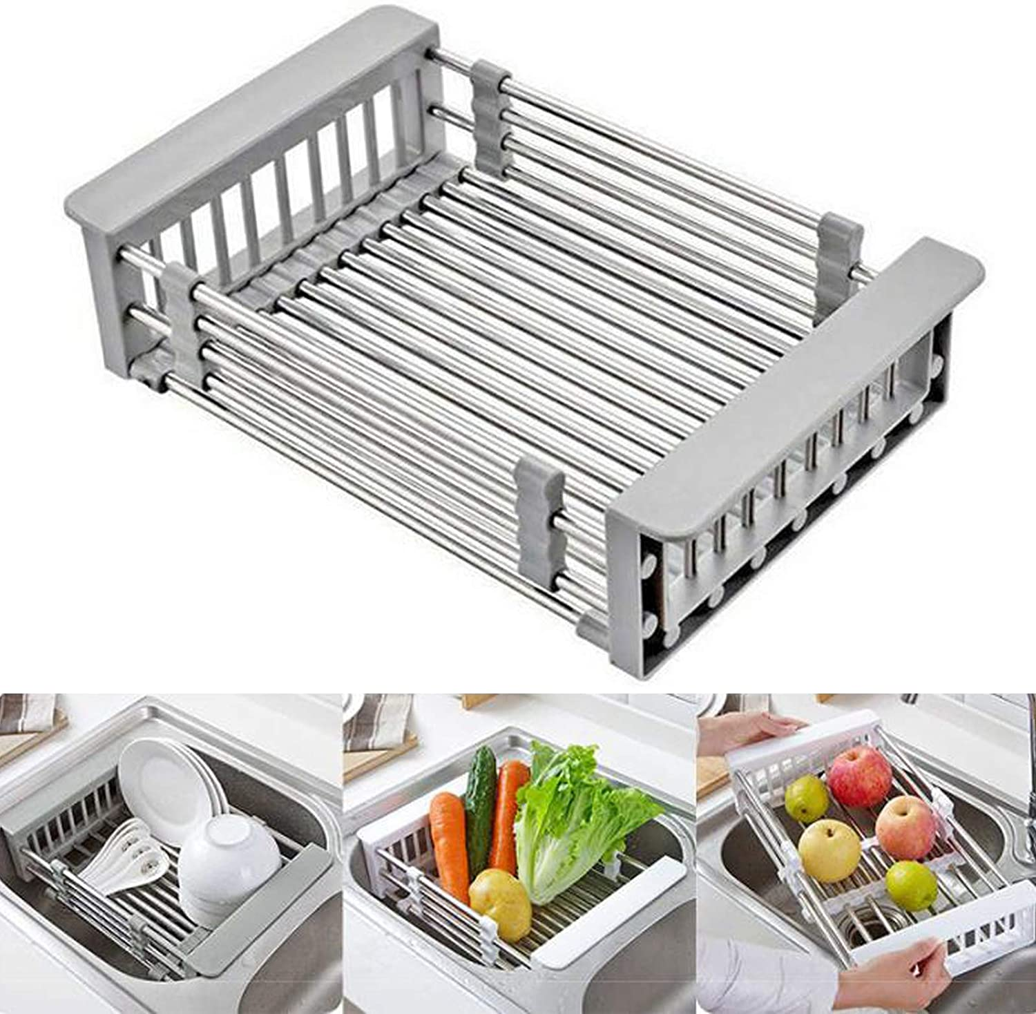 Retractable Stainless Steel Sink Strainer Drain,Telescopic Drain Basket with Adjustable Armrest, Kitchen Rack Drain Basket, Over The Sink Dish Drying Rack.