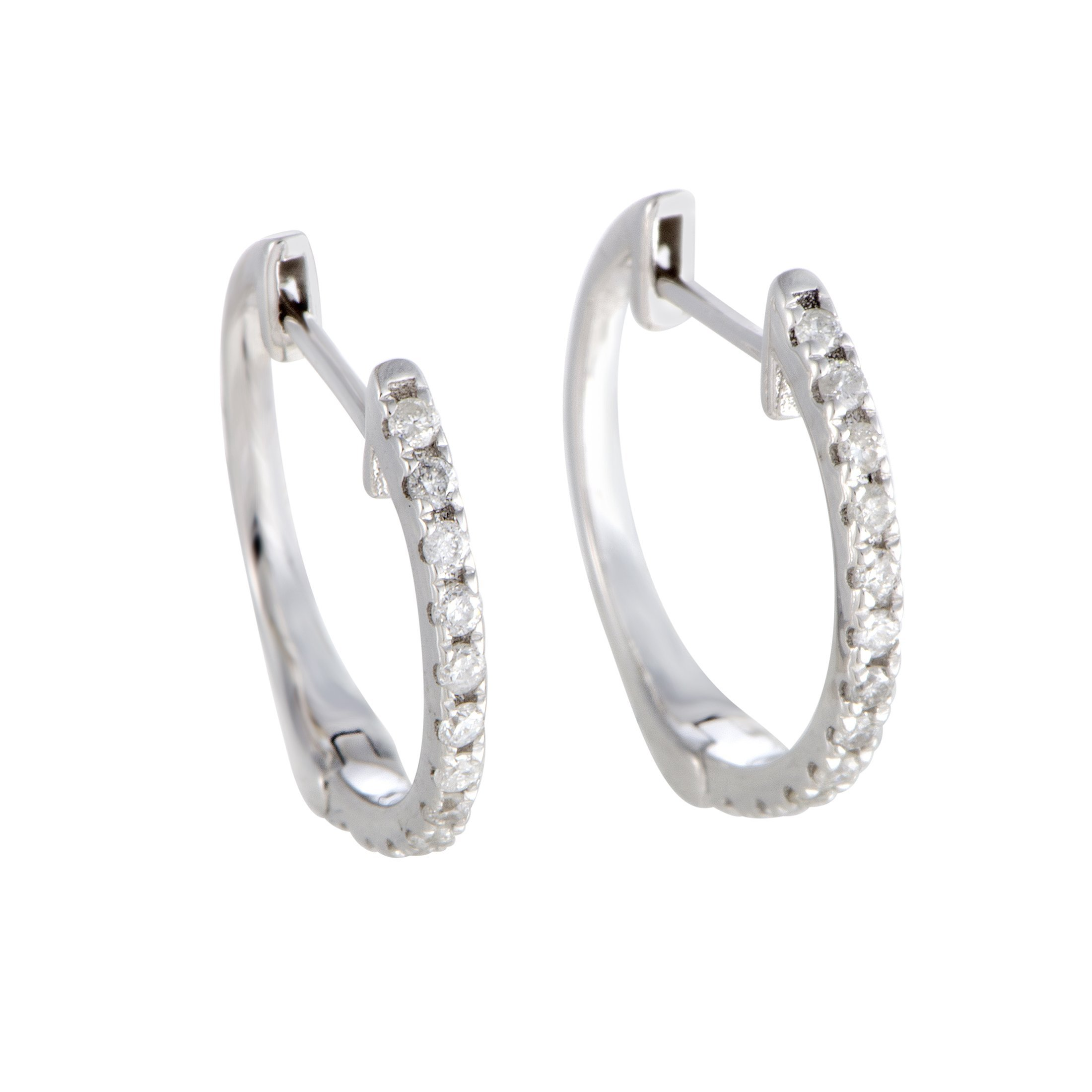 Sparkling 0.5'' Diamond Hoop Earrings in 10K White Gold; 0.20 Carats of Brilliant Diamonds (white-gold)