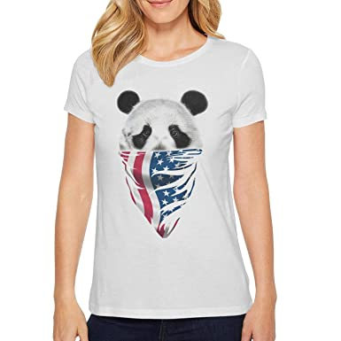 8a10ef5bf76c2 Womens Short Sleeve Unique Funny Shirts Panda face and American Flag  Novelty T Shirts