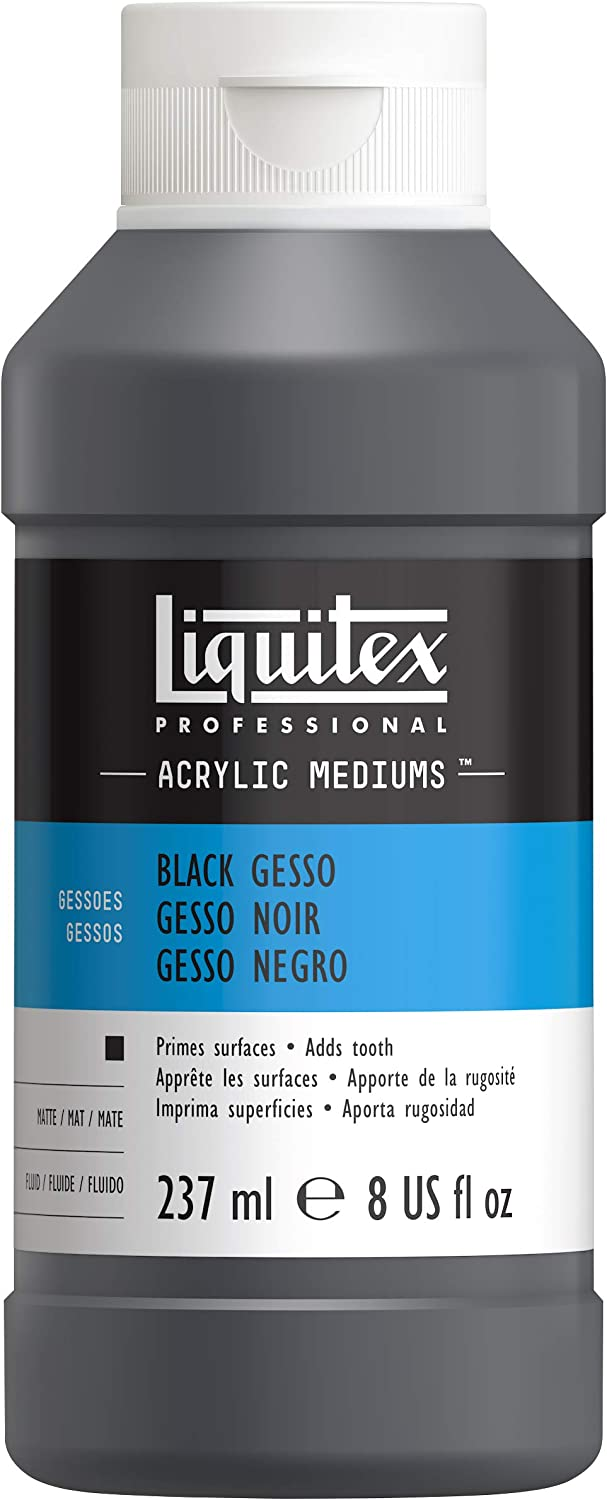 Liquitex Professional Black Gesso Surface Prep Medium Bottle, 8-Ounce