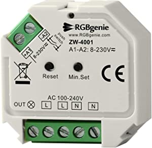 Z-Wave Micro Controller and Lamp Module - Single Channel Trailing Edge Dimmer with Momentary Switch Input. 200 Watts, Z-Wave Plus. RGBgenie ZW-4001