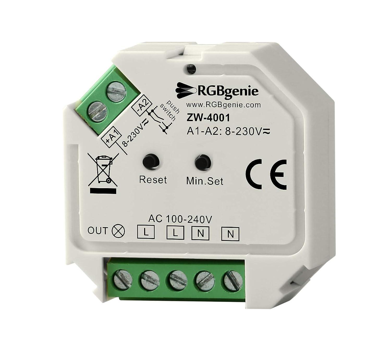 RGBgenie Z-Wave Plus マイクロコントローラーとランプモジュール - シングルチャンネル トレイリングエッジ 調光器 200ワット ZW-4001   B07NBK71MY