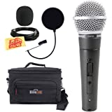 Shure SM58S Vocal Microphone with On/Off Switch Bundle with Gear Bag, Pop Filter, XLR Cable, Mic Clip, Windscreen, and Polishing Cloth