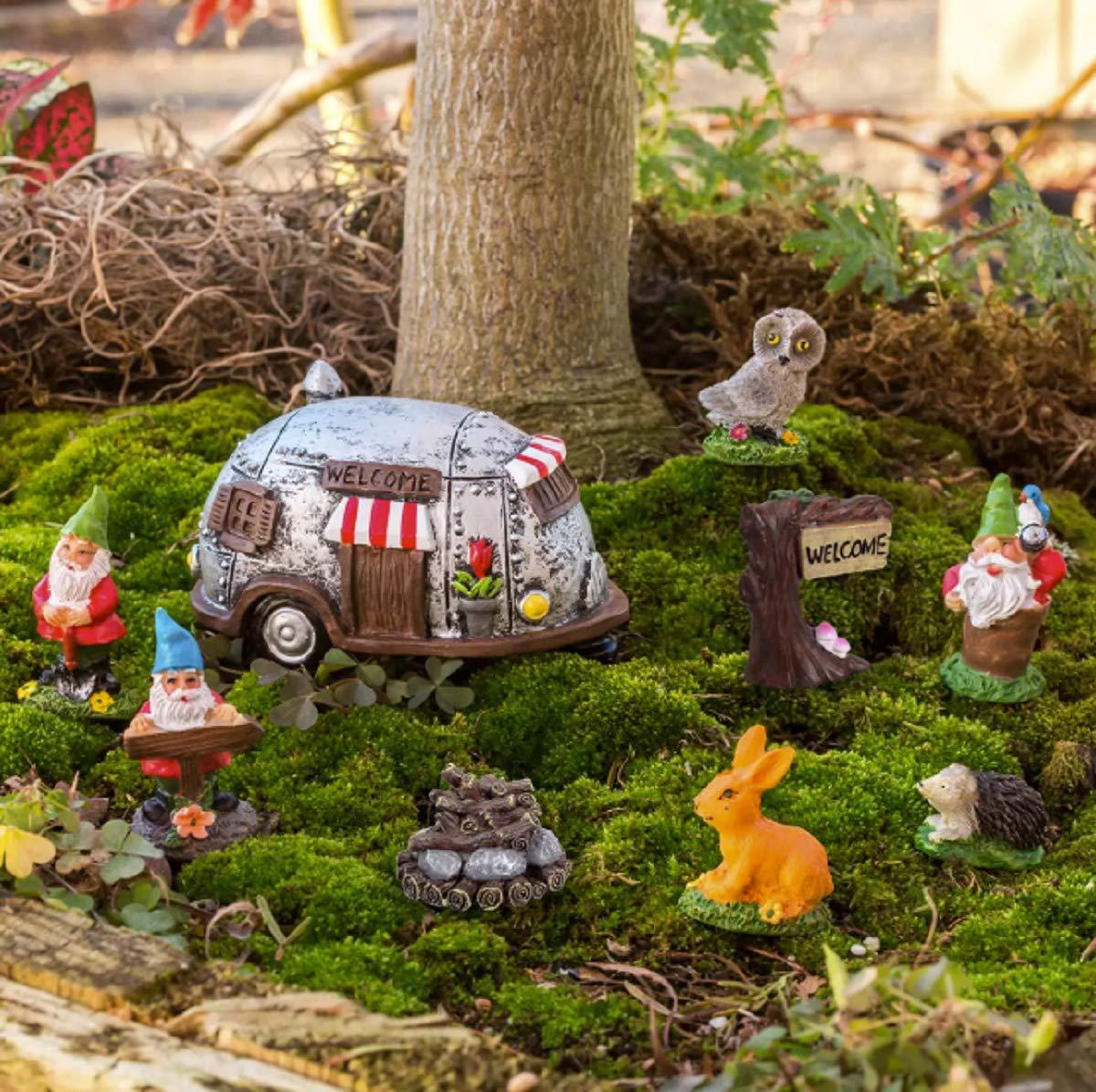 Fairy Garden Gnome Campground Figurine Set, Polyresin, 9 Pieces