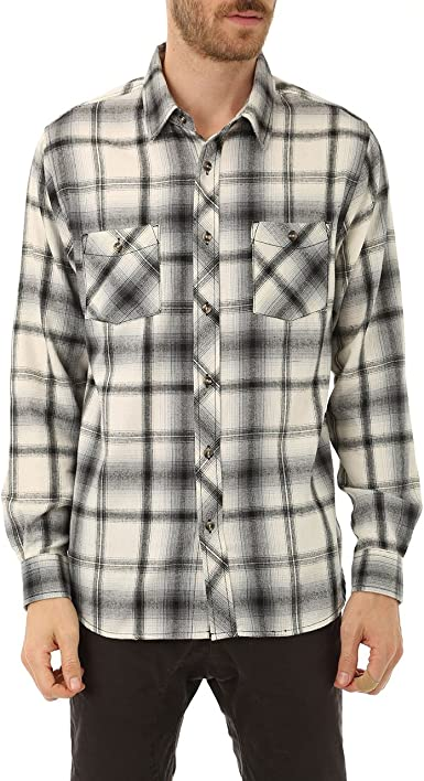 Distortion Mens Casual Long Sleeve Button Down Flannel Shirt Plaid Sport Top With 2 Chest Pockets