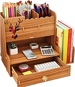 Dongxing Wood Desktop Organizer with Bookshelf, Desktop Stationary, Home Office Supply Storage Rack with Drawer (Dark wood)