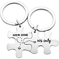 Couple Key Chain Set Gifts for Husband Wife Boyfriend Girlfriend - Her one His Only Pack of 2 Valentine