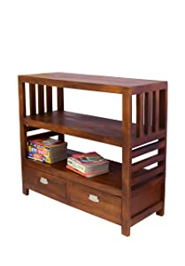 Solid Wood Book Case Open self 2 drower by Furniseworld, SKU:VHT-FW-00157