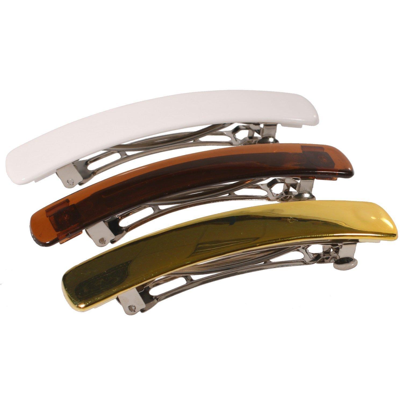 3 Haarspangen aus versilbertem Metall und Kunststoff – 8, 7 cm – Weiß goldbraun – Haarzubehör für Damen