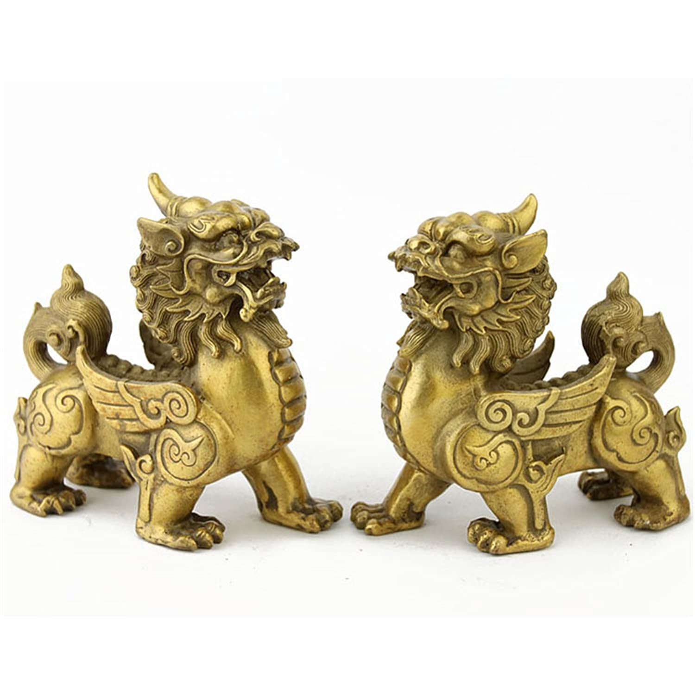 Amazoncom Feng Shui Pair Of Brass Pi Xiupiyao Statue For