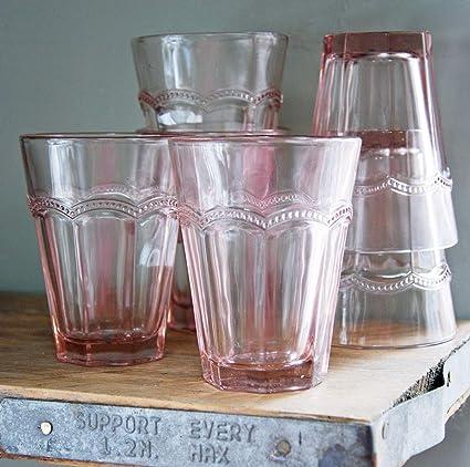 Juego de 6 vasos de bebida con diseño de Antoinette francesa, color rosa