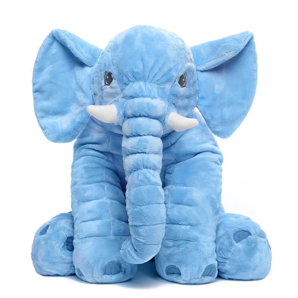 Baby Kids Long Nose Elephant Pillows Soft Plush Stuff Dolls Cushion (S, Beige) Crazy lin