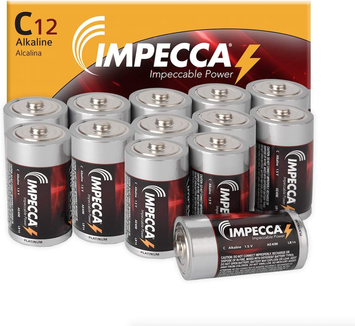 12 Pack 1.5 Volt LR14 Size C Alkaline Batteries for Everyday Use IMPECCA C Batteries High Performance C Cell Alkaline Battery 12 Count