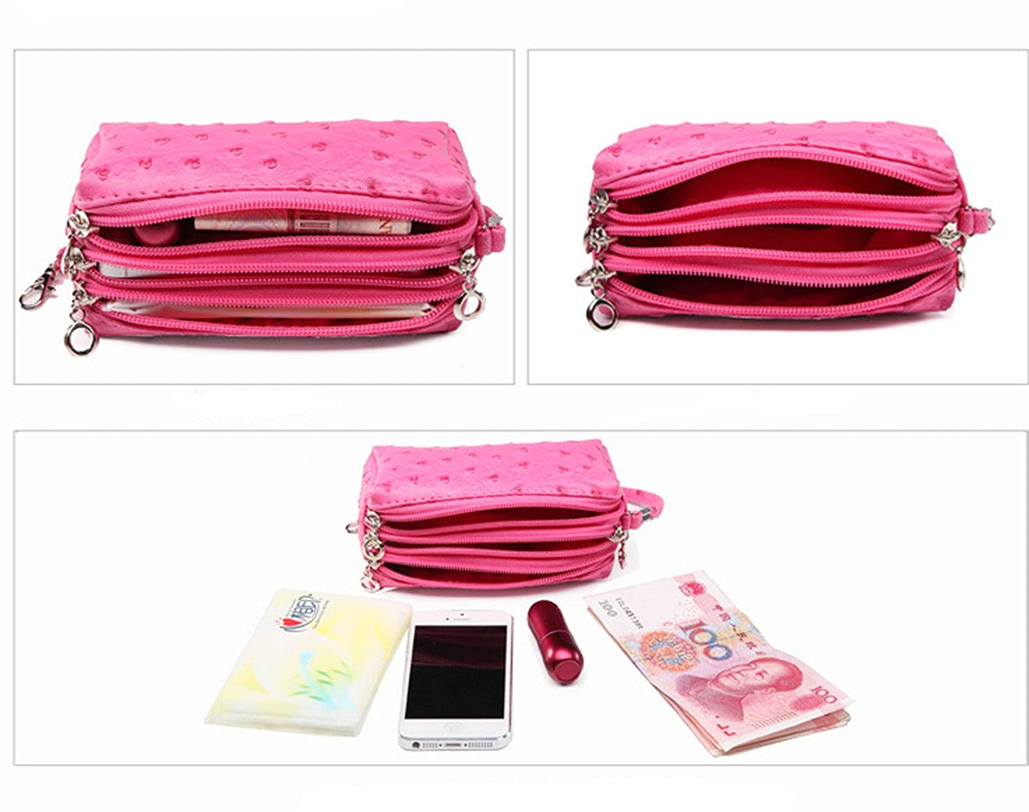 7881b63f650 Micom 2016 New Candy Color Fake Ostrich Leather Three Layers Clutch  Handbags Purse for Women (Khaki)  Handbags  Amazon.com