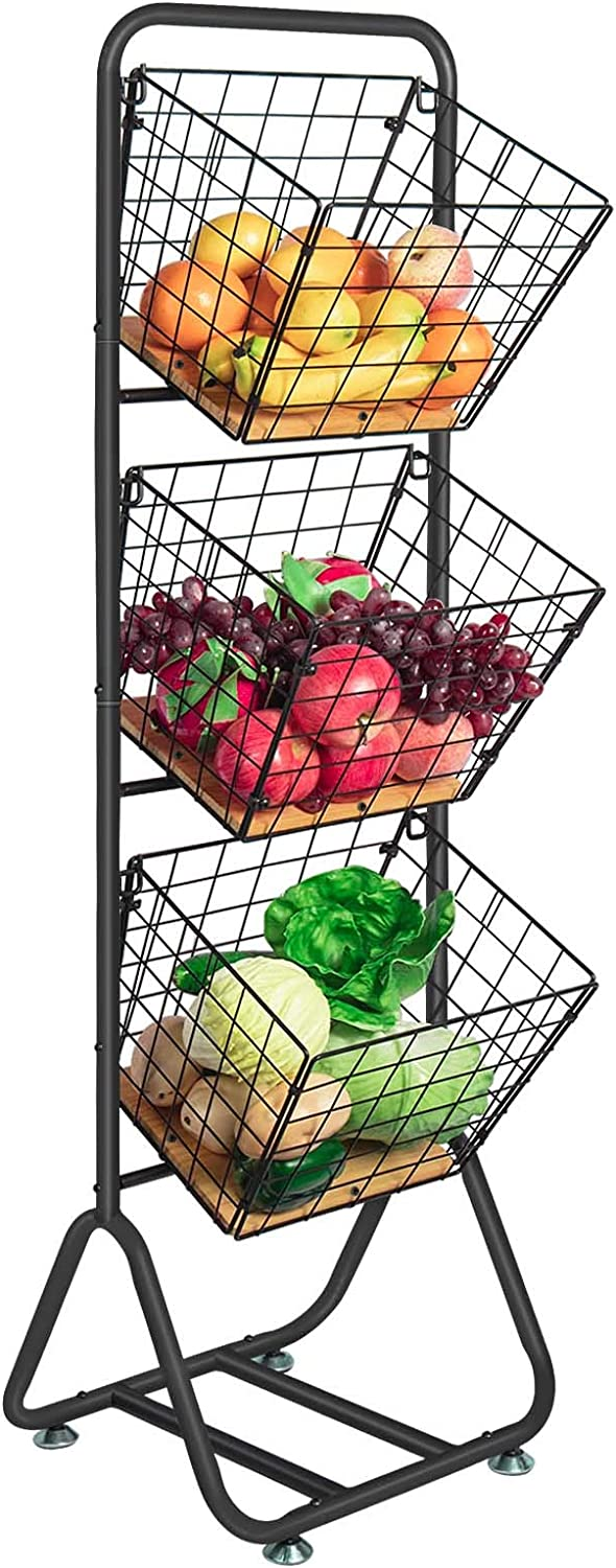 X-cosrack 3-Tier-fruit-Wire-Market-Basket-Stand Kitchen Snack Vegetable Metal baskets Storage Tiered Wire Basket Organizer Free-Standing for Fruit Vegetable Storage Pantry Bathroom (Pine Wood)