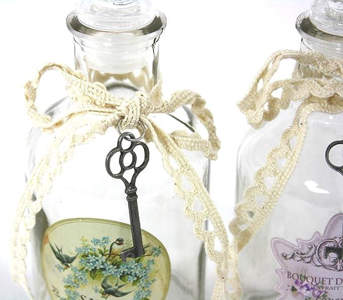 Juego de 3 botellas de cristal tamaño pequeño estilo francés: Amazon.es: Hogar