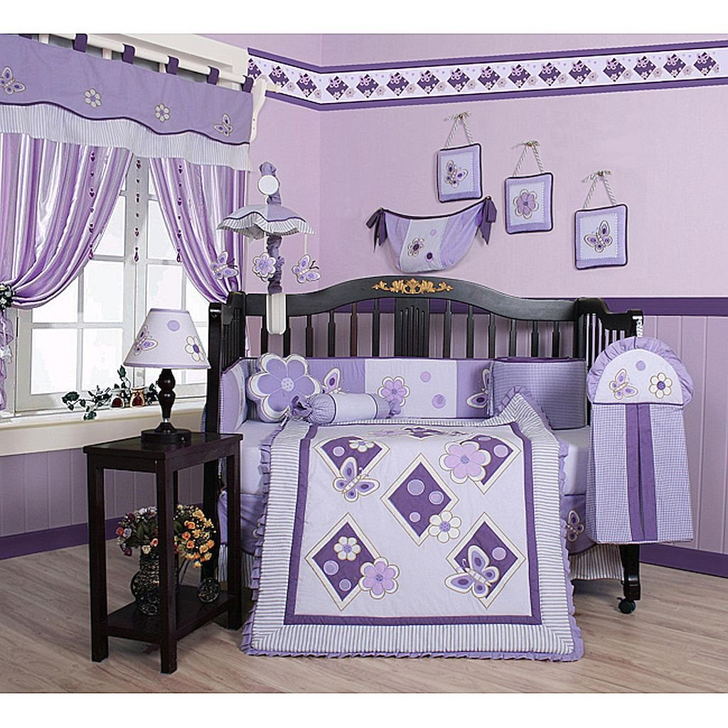 Butterfly 13-piece Crib Bedding Set, Includes A Quilt, Two Valances, Skirt, Crib Sheet, Bumper, Diaper Stacker, Toy Bag, Two Pillows And Three Wall Hangings.
