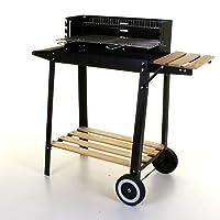 Grillstation XL schwarz Basis Garten Balkon ✔ Rollen ✔ Seitentisch rechts ✔ eckig ✔ rollbar tragbar ✔ stehend grillen ✔ Grillen mit Holzkohle ✔ mit Station ✔ mit Rädern