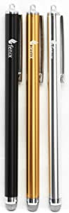 Fenix - Set of 3 Black, Silver, Gold [Stylus Pen with Micro Knit Hybrid Fiber Tip for iPhone 4/5/5c/6/6+, iPad/iPad Air/iPad Mini, Samsung Galaxy S4/S5/S6/Edge, Kindle Fire, Surface Pro and More