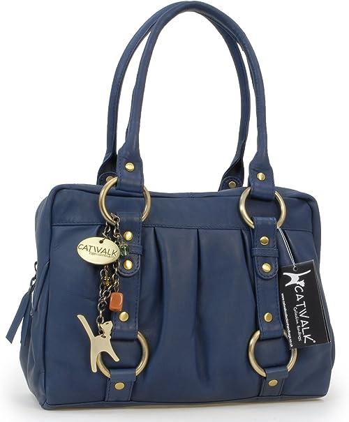 Catwalk Collection Handbags Leder UmhängetascheSchultertascheLederhandtasche MEGAN