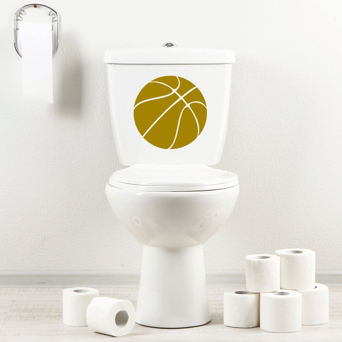 StickAny Bathroom Decal Series Basketball Simple Sticker for Toilet Bowl, Bath, Seat (Black)