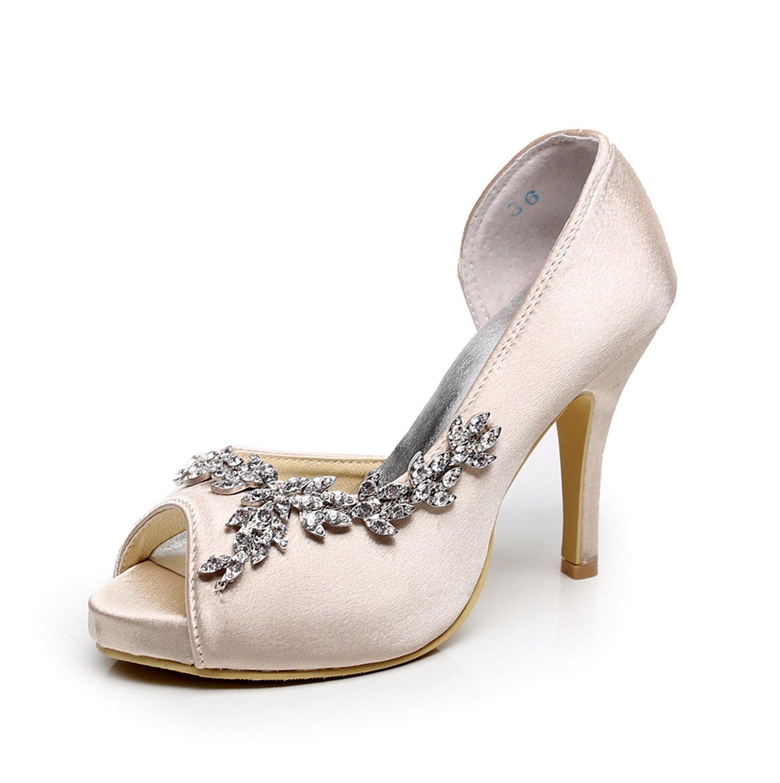 Minishion GYMZ632 Womens Open Toe Kitten Heel Satin Bridal Wedding Applique Shoes B01FPFB3WI 9 B(M) US|Champagne-10cm Heel