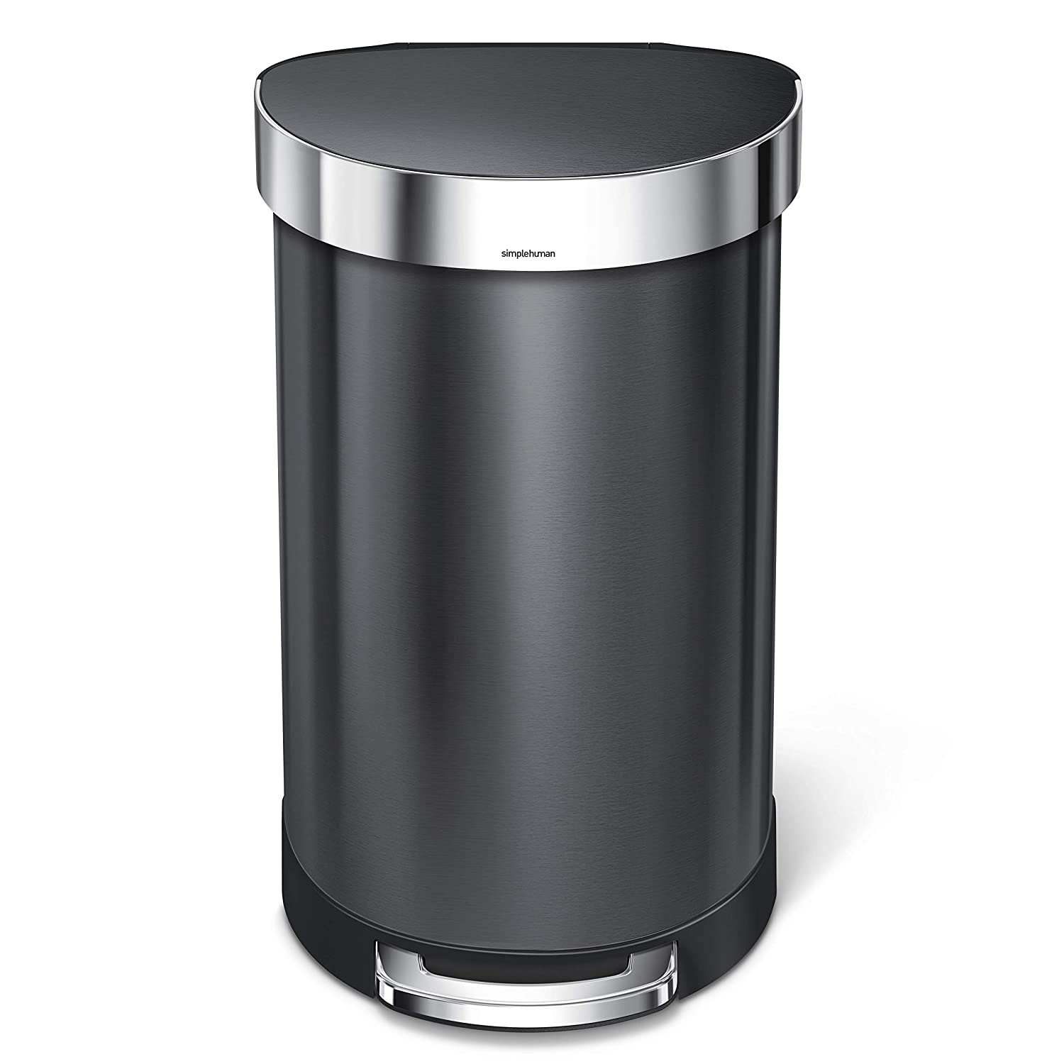 simplehuman 45 Liter / 12 Gallon Stainless Steel Semi-Round Kitchen Step Trash Can with Liner Rim, Black Stainless Steel