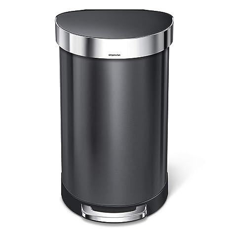 simplehuman CW2075 Papelera 45 L Otro Acero Inoxidable Negro - Cubo de Basura (45 L, Otro, Acero Inoxidable, Negro, Pedal, 400 mm)