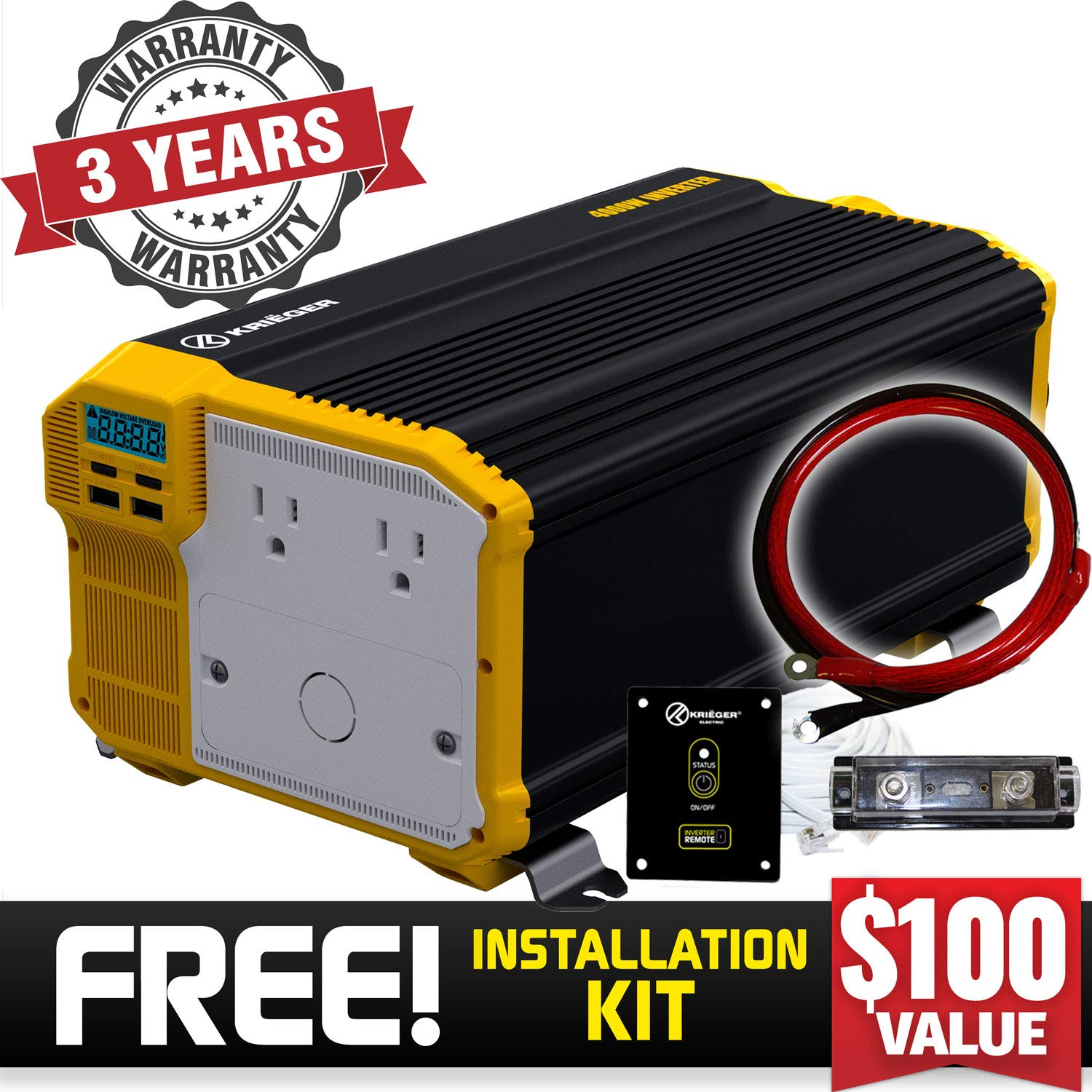 Krieger 4000 Watt 12V Power Inverter Dual 110V AC Outlets, Installation Kit Included, Back Up Power Supply Perfect for an Emergency, Hurricane, Storm or Outage - MET Approved to UL and CSA Standards by K KRIËGER