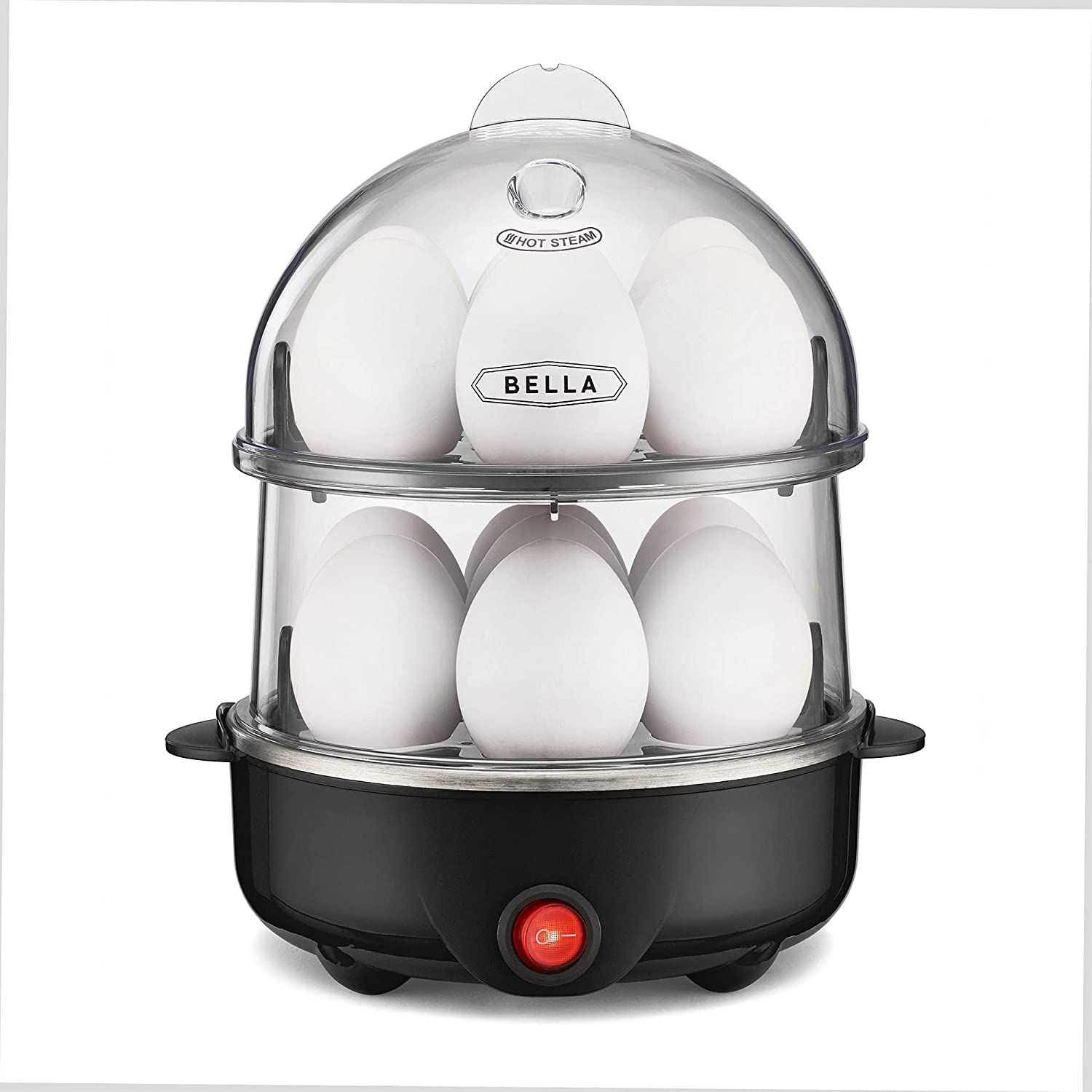 BELLA 17287 Double Cooker, Rapid Boiler, Poacher Maker Make up to 14 Large Boiled Eggs, Poaching and Omelete Tray included, Stack, Black
